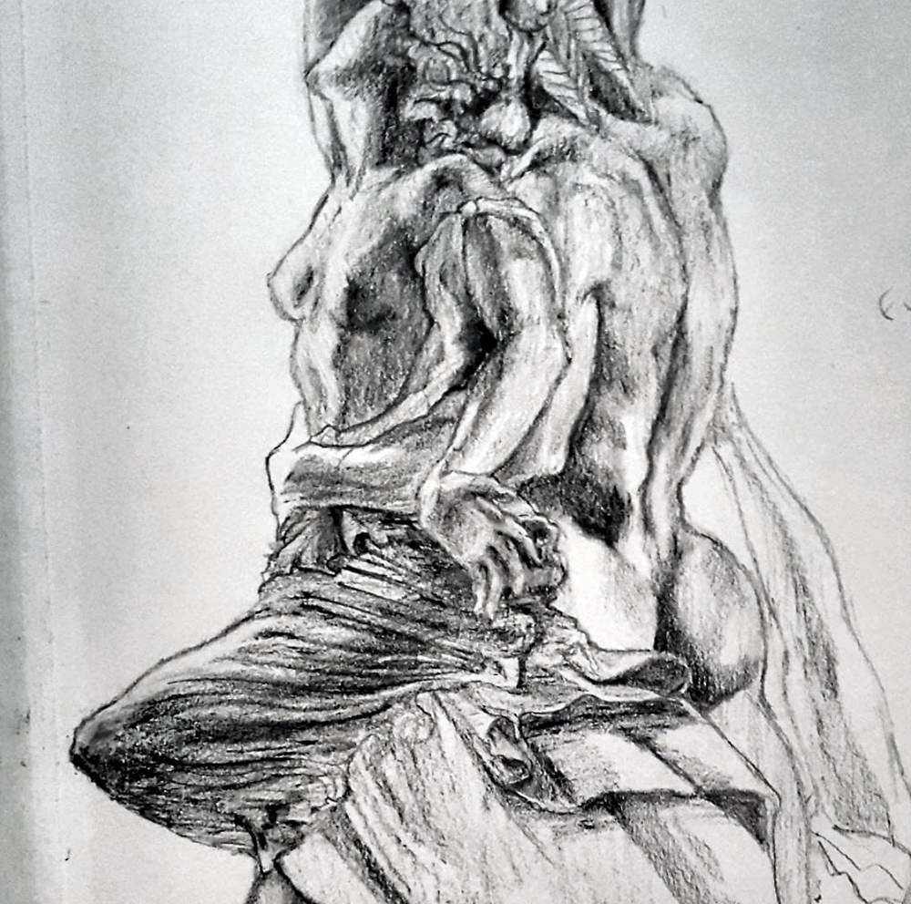 Sketched in 2016.  ~  The Rape of Polyxena (sketched from behind),  sculpture by Pio Fedi,in Loggia Dei Lanzi,  Piazza Della Signoria,Florence, Italy.