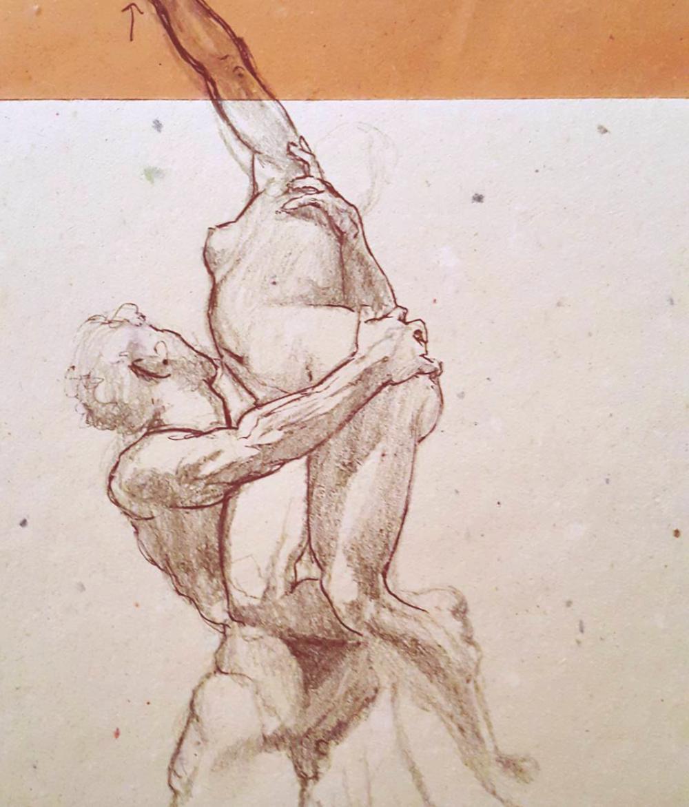 Sketched in 2015.  ~  The Rape of the Sabine Women,  by Giambologna, in Loggia Dei Lanzi,  Piazza Della Signoria,Florence, Italy.