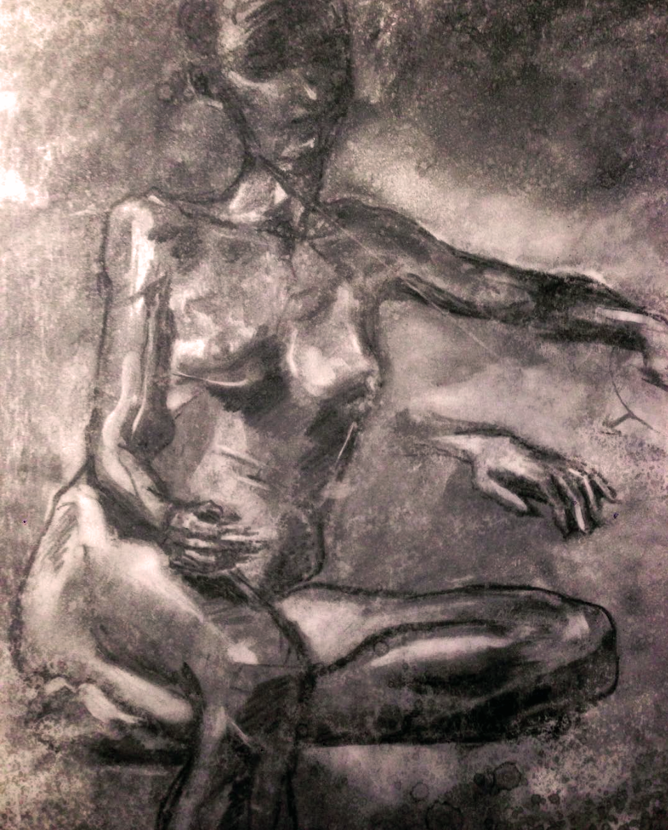 "Life Drawing, 2015  18"" X 24""  Charcoal"
