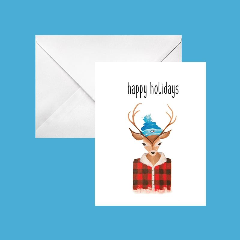 happy holidays blue jays deer