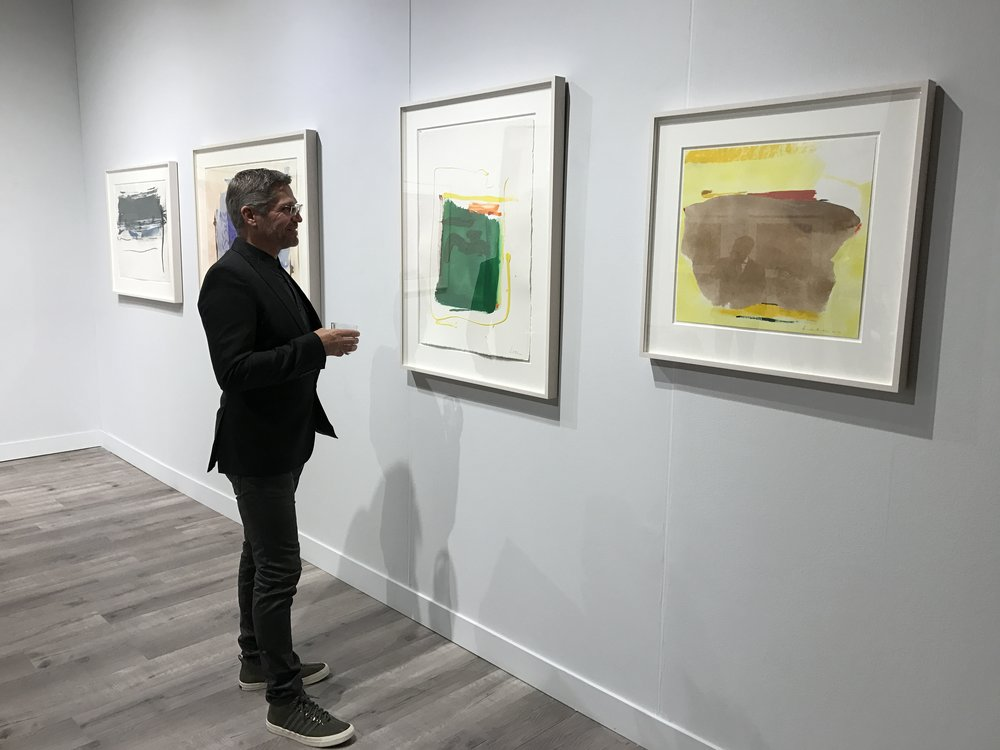TWG Design Principal James Hunter admires Gagosian Gallery's collection of works by Helen Frakenthaler