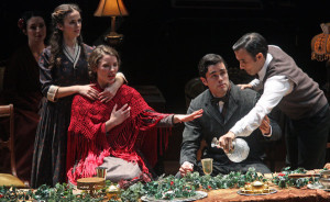From left, Arielle Goldman, Hannah Mitchell, Ryan-James Hatanaka and Michael Salinas in the play version. Photo: Hiroyuki Ito for The New York Times