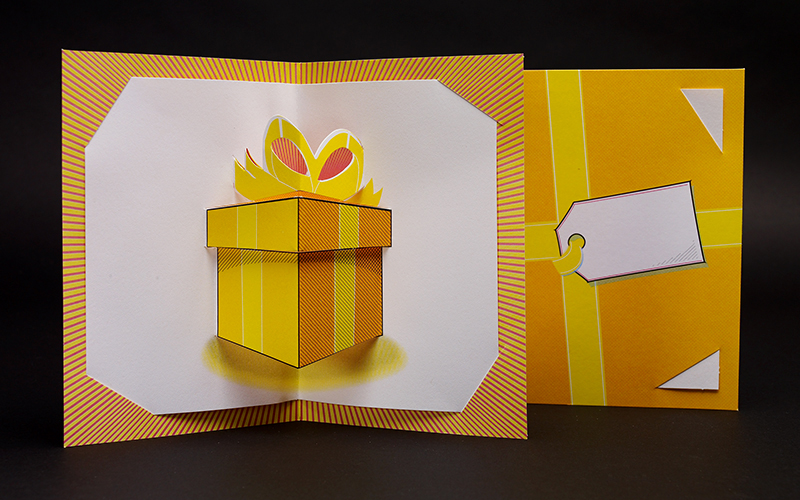 Commercially produced gift card made without glue. Photo by Natasha V