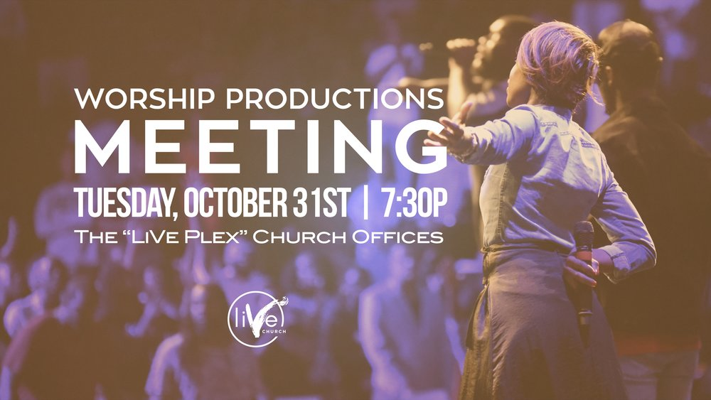 We are excited about our First Training w/ the Worship Productions Team here at LiVe Church! If you have a gift to sing or play an instrument, please come and hear from directly from Pastor Tye Tribbett on the Vision of this ministry and how you can be a part!