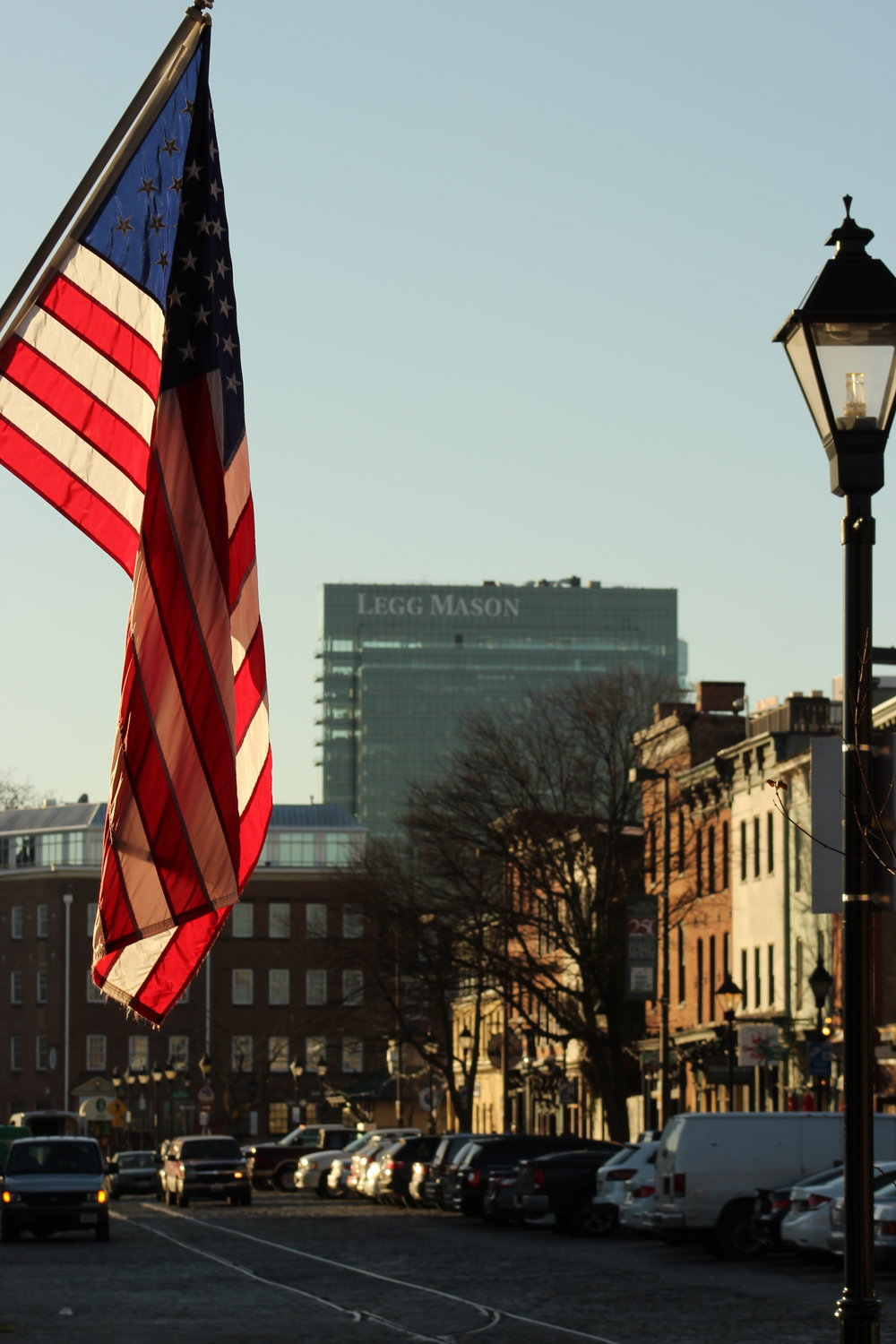"Baltimore's Thames Street at twilight:  In America, it's Thames ""th-aims"", not ""temz"""