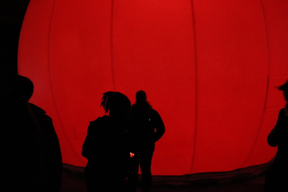 """Installation: MoonGARDEN by Lucion (Canada)  """"MoonGARDEN features a series of inflated vinyl bubbles, ranging from 6' to 30' in diameter that tell a poetic story of the Baltimore spirit through Shadow Theater, the oldest imaging technique in the world."""""""