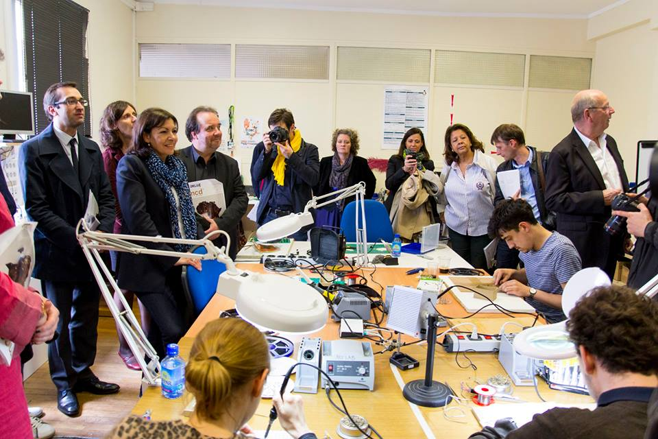 Paris mayor Anne Hidalgo and City Hall of Paris 10th district visiting the Artlab in 2014