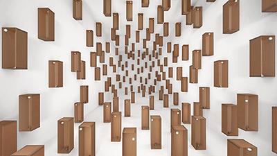 Zimoun, 157 prepared dc-motors, cotton balls, cardboard boxes 60x20x20cm 2014
