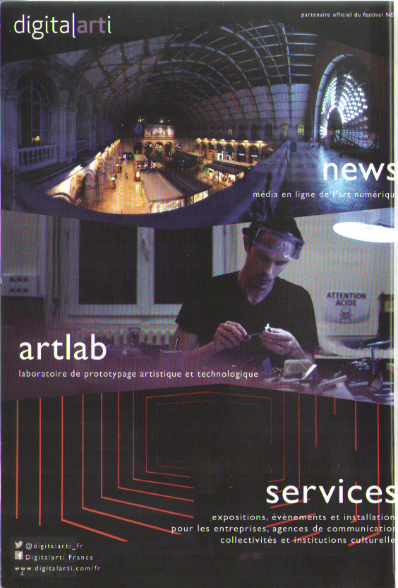 Advertisement on cover page of the program for Paris Arts Festival Nemo. I had become the poster-boy for Digitalarti's trademarked Artlab.