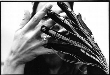 Laetitia Sonami's Lady's Glove no.4. Collaboration Bert Bongers in Holland in 1994