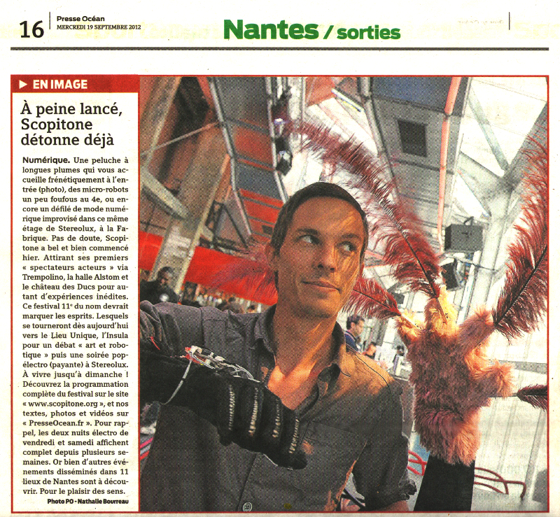 Opening day of Scopitone Festival at Stereolux Arts Center at Nantes (FR). Publication Presse Océan 2012