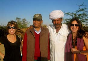 The Spiritual India Journey Team.  From Left: Kelley McHenry, Dr. Arvind Singh, local guide and Fran Gallo.