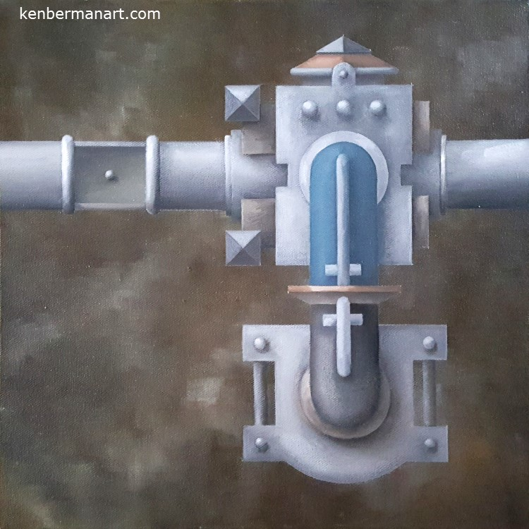 "Title:  Blue Pipe Medium:  Oil on Canvas Size:  12"" x 12"" Copyright:  2001 Catalog #: 01.015"