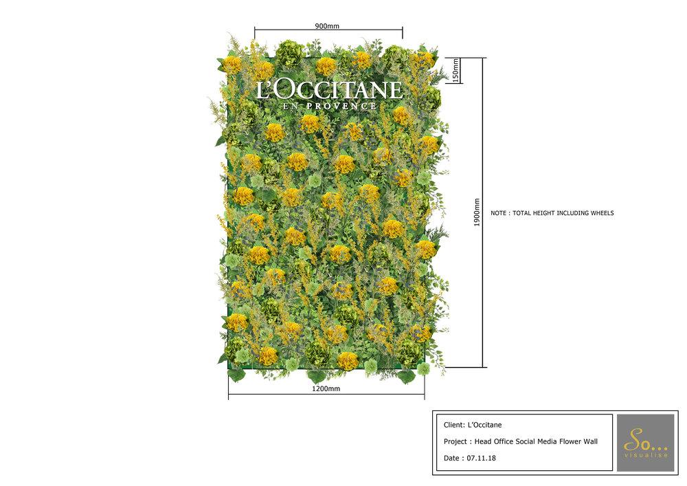 L'Occitane flower wall
