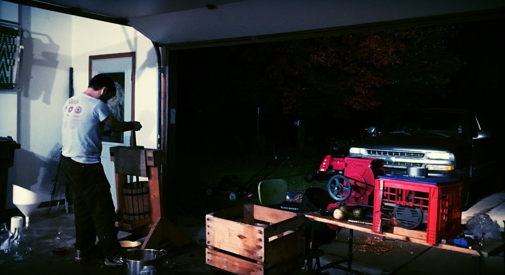 Above: Pressing apples into the night