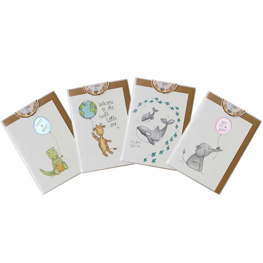 pack of 4 new baby greeting cards little difference nz