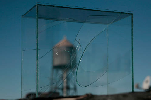 REMIX  Cut glass in glass box. 9in by 8in by 5in approx. 2009/10