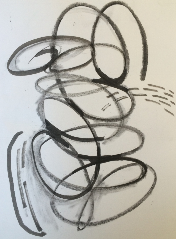 RV PAINTINGS 2015- Charcoal drawings on recycling canvas. Oval evolving on newsprint paper. Energy painting. More...