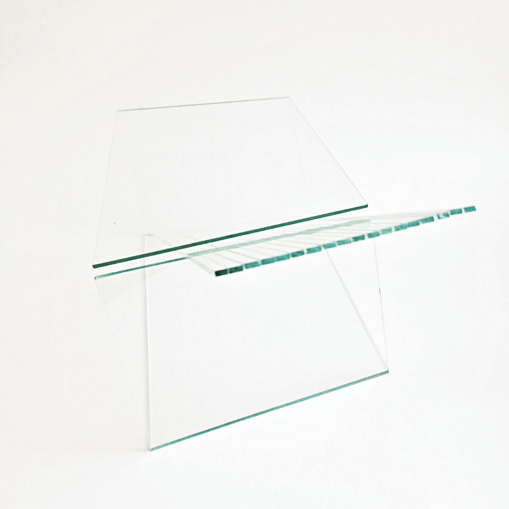 "7 by 6 by 5 1/2"" approximate, glass and strips of beliefs of half a cm wide"