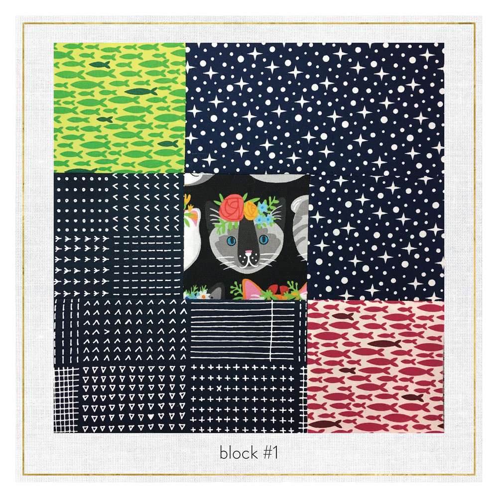This block features fabrics from  Blueberry Park ,  Rhoda Ruth ,  Reef  &  Whiskers and Tails