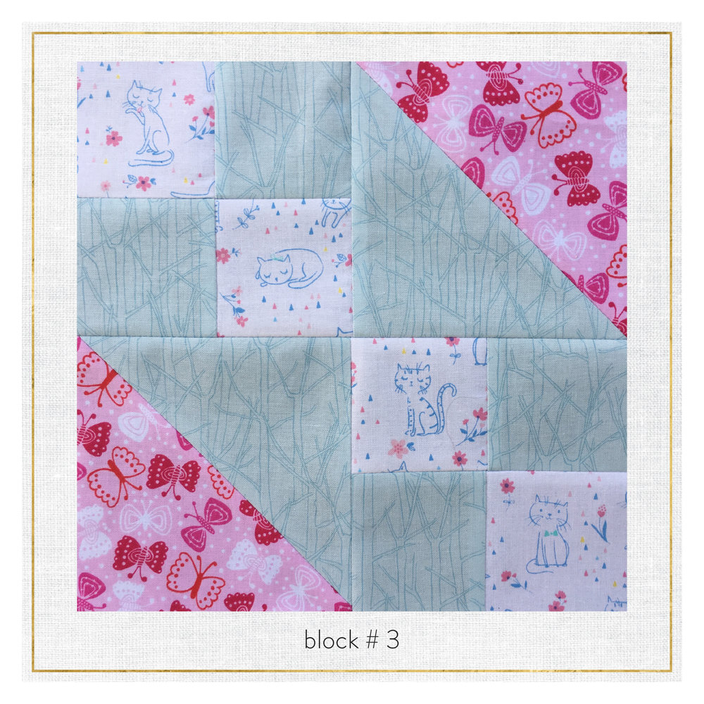 This block features fabrics from Botanics by Carolyn Friedlander,  Whiskers & Tails  and Cherry Blossom Garden by Wendy Kendall