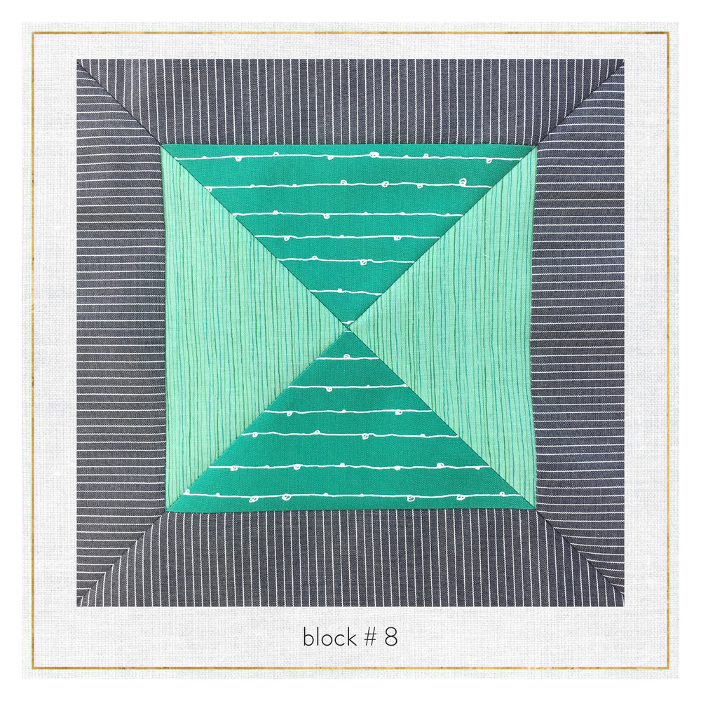The block features Botanics by Carolyn Friedlander, Blueberry Park by Karen Lewis, and Railroad Denim.