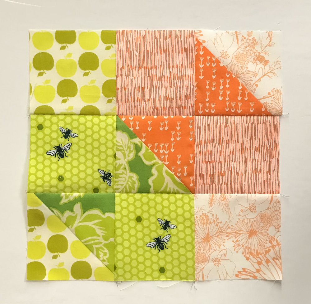 This block is by  Nydia  - we love how she used a perfect mid-tone with an unobtrusive fussy cut motif!