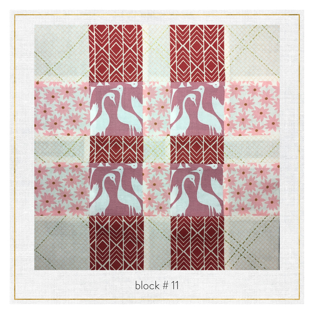 This block uses Pond by Elizabeth Hartman and Carkai by Carolyn Friedlander.