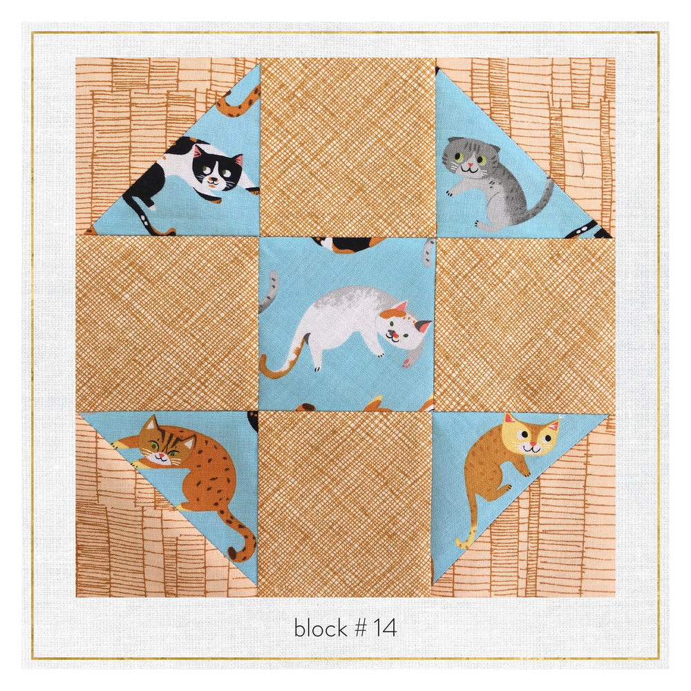 This block features Doe & Architextures Carolyn Friedlander, plus Whiskers and Tails by Neiko Ng