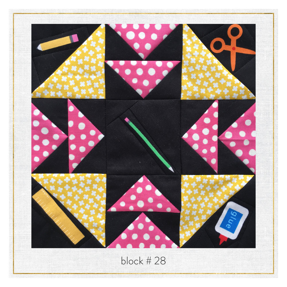 This block features Back to School by Ann Kelle + Rhoda Ruth by Elizabeth Hartman.
