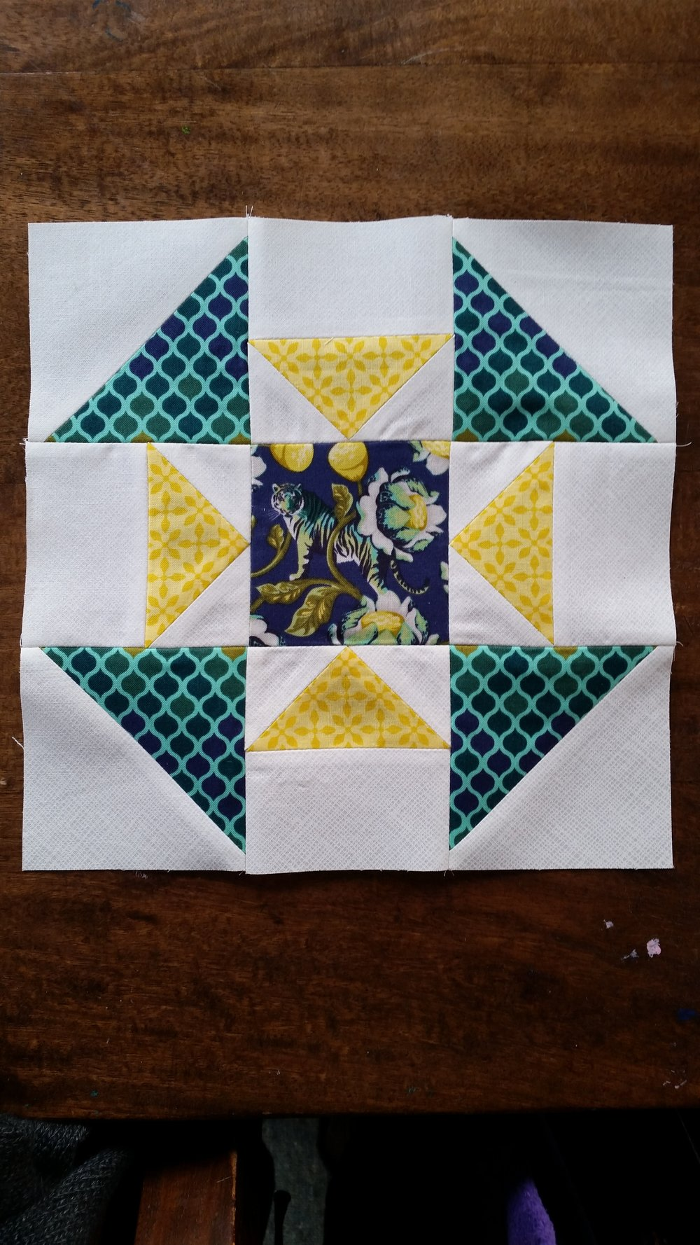 Jess from Elven Garden Quilts made this beautiful block with perfectly matched colors to highlight the tiger motif!