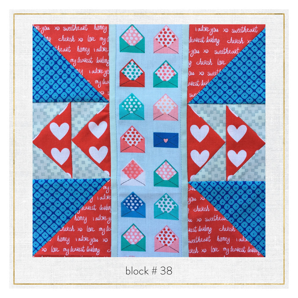 Notice how on this block, we just turned the design 90 degrees so we could showcase this cute envelope print!  This block features Sealed with a Kiss by  Laurie Wisbrun , Blueprint Basics by  Elizabeth Hartman , Remix by  Ann Kelle  and Mystic by  Valori Wells .