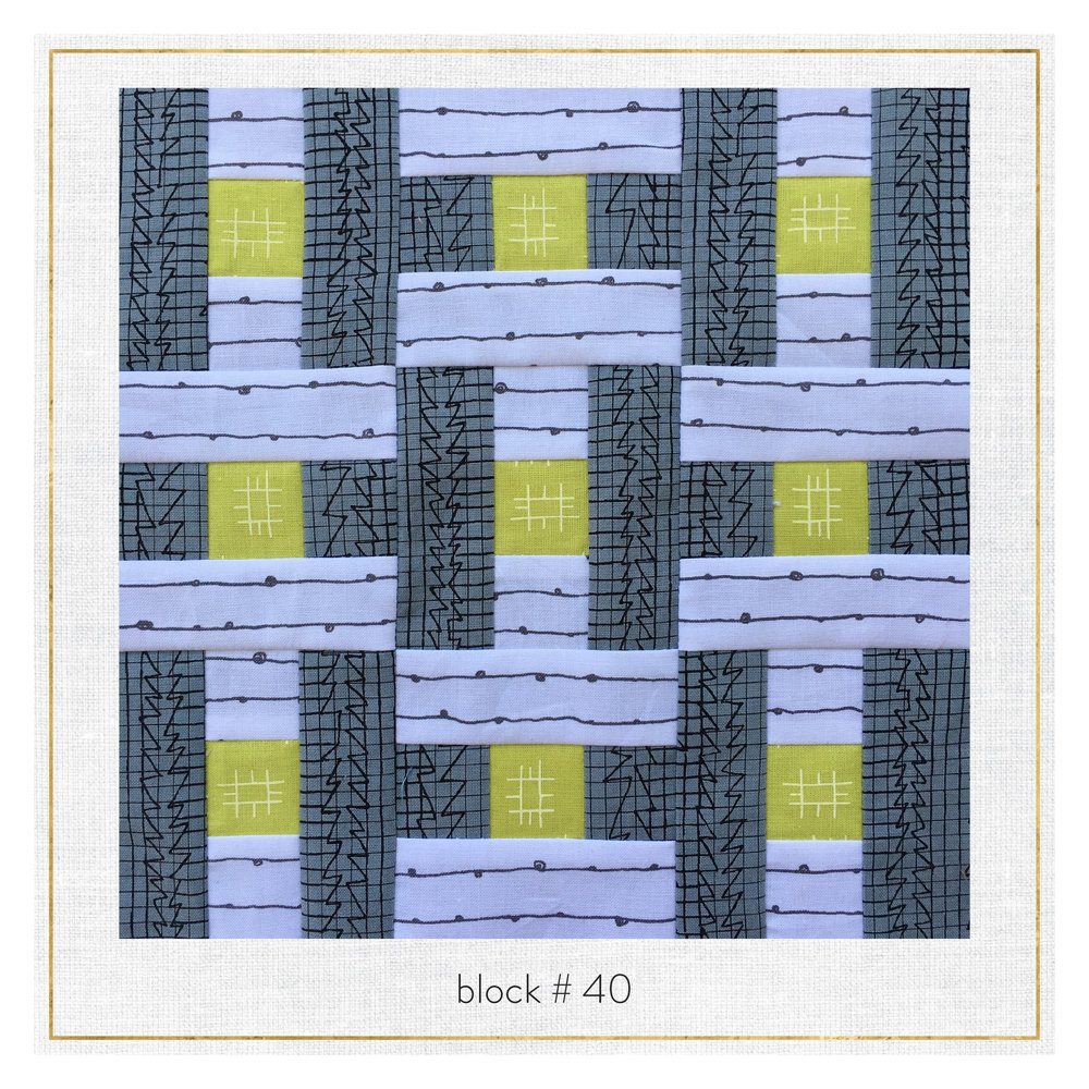 This block features Doe by Carolyn Friedlander, Blueberry park by Karen Lewis and Conservatory by Heather Jones.
