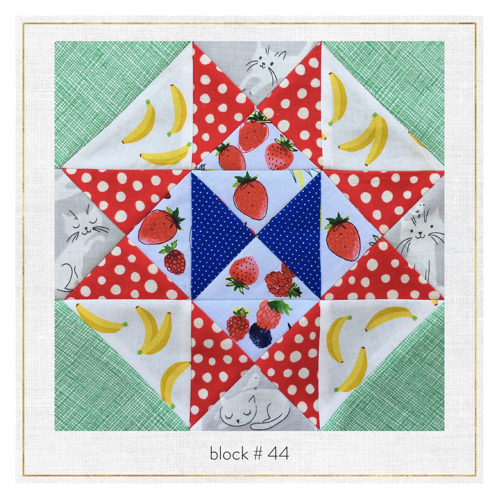 This block features Sevenberry Mini Prints, Architextures by Carolyn Friedlander, and Whiskers and Tails.