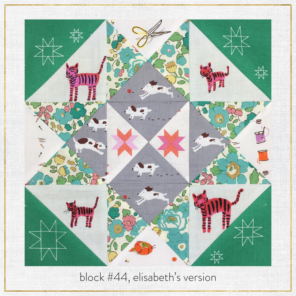 Elisabeth decided to feature lots of quilt blocks and sewing tools, since quilting is her absolute favorite. Dogs go in the center, and cats on the outskirts (since she loves, but is very allergic to cats). The liberty print is her favorite of all, and it's also the same fabric her little dog's collar is made from!