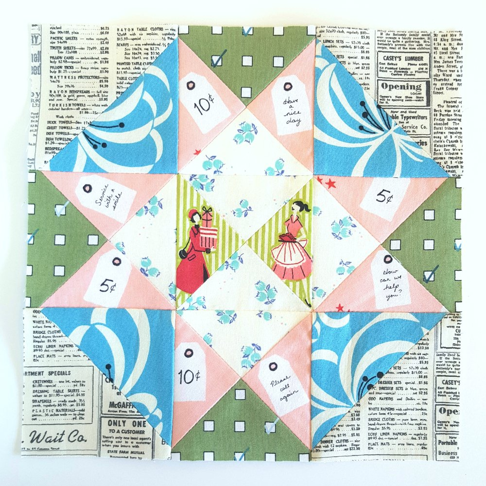 We love how guest star, Heidi of Fabric Mutt used her newest fabric collection 'Five and Dime' combined with some of her other favorites to create this beautiful block! Read more about her story on her blog!