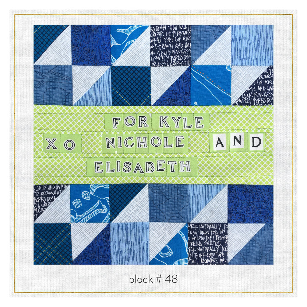 SURPRISE! If Kyle is watching this blog she'll see that we've been working on a special quilt just for her!