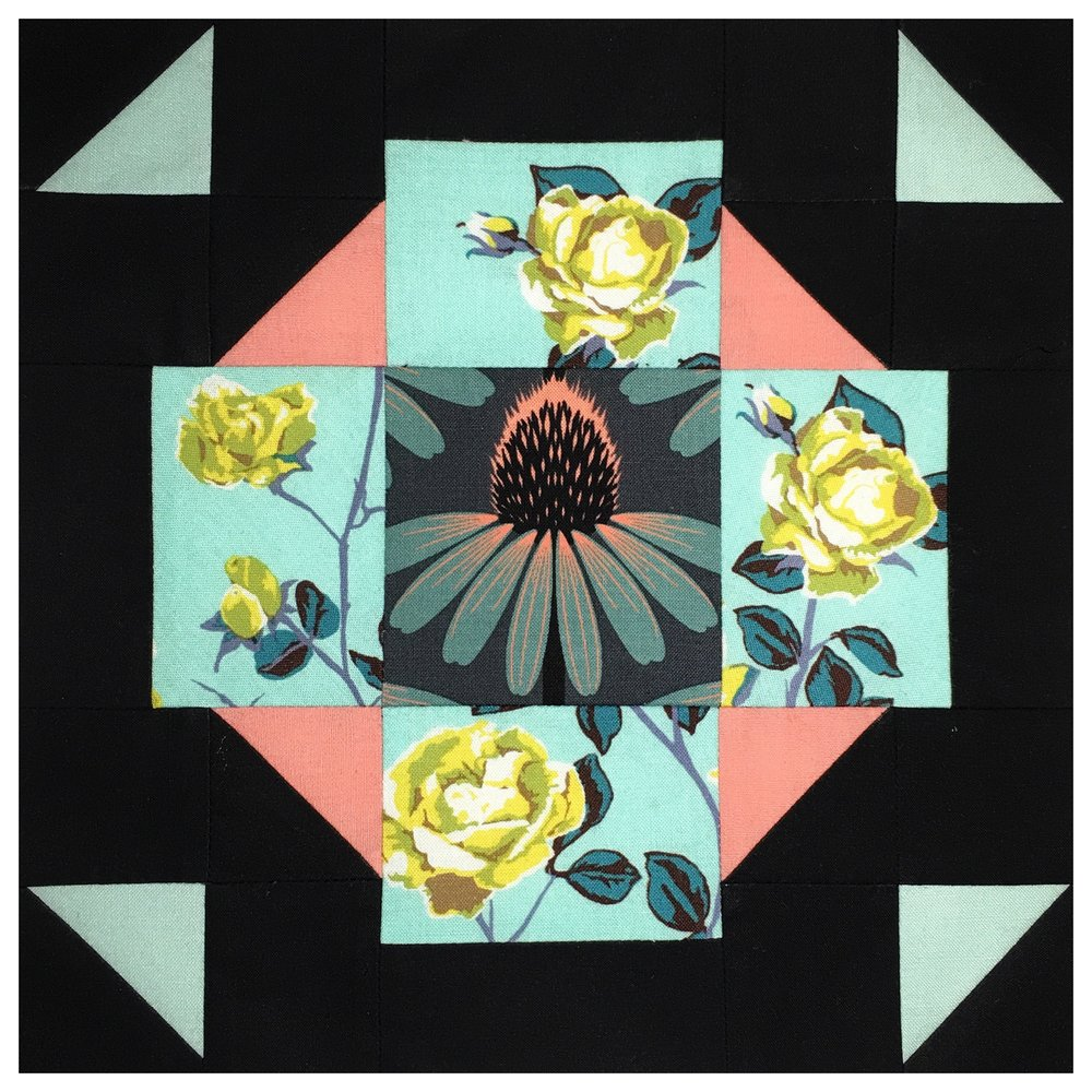 If you haven't been following  Karen of Lady K Quilts  - you should, you can see that all here:  #LadyKandAMHgetFussy . Her mix of Anna Maria Horner fabrics, plus solid black and a stripe have made her QAL blocks some of our all-time favorites. We love how she used this block's trick to force her rose garden to all grow in the same direction.