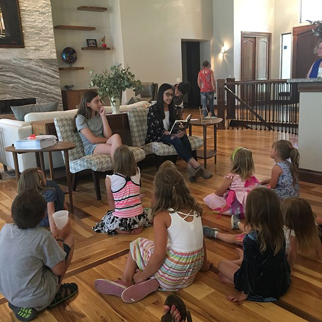 Today was so special! My friend Sarah Lavezzo hosted a Meet the Authors Afternoon Tea with my daughter, Sophia Packiam, and her niece, Aubrey Hermes.  Aubrey Hermes, author of Life with Gusto, and Sophia Packiam, author of Finding the Light, read excerpts from their books, signed copies, and talked about their experiences as young authors. It was such a joy to see this group ask questions and be inspired by these young authors' forays into writing.  To purchase Finding the Light, click the link in profile. Aubrey's book is also available on Amazon.  #storyformed #storytime #bookstagram #readingtime📖