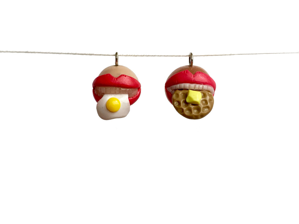 Fried Egg Waffle Mouth Teeth Polymer Clay Charm