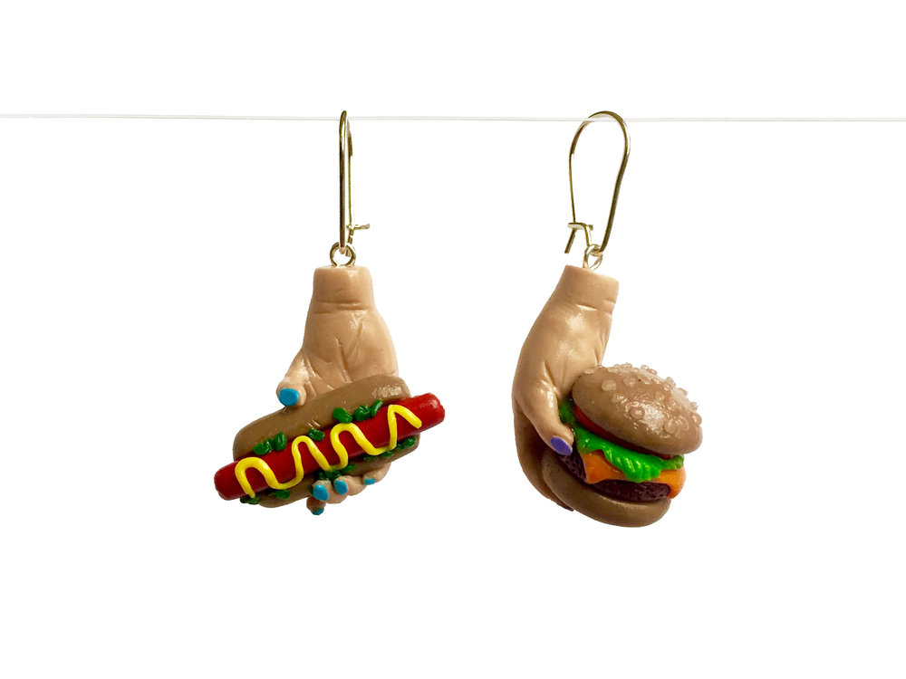 Hamburger Hotdog Polymer Clay Earring