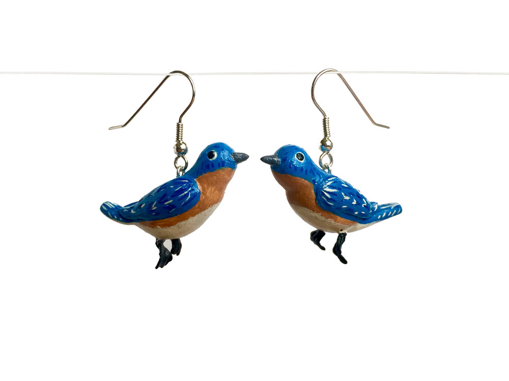 Blue Jay Polymer Clay Earrings