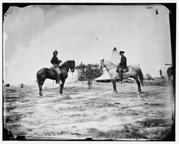 George A. Custer and General Alfred Pleasonton on Horseback (Falmouth, VA, April 1863) by  Timothy H. O'Sullivan