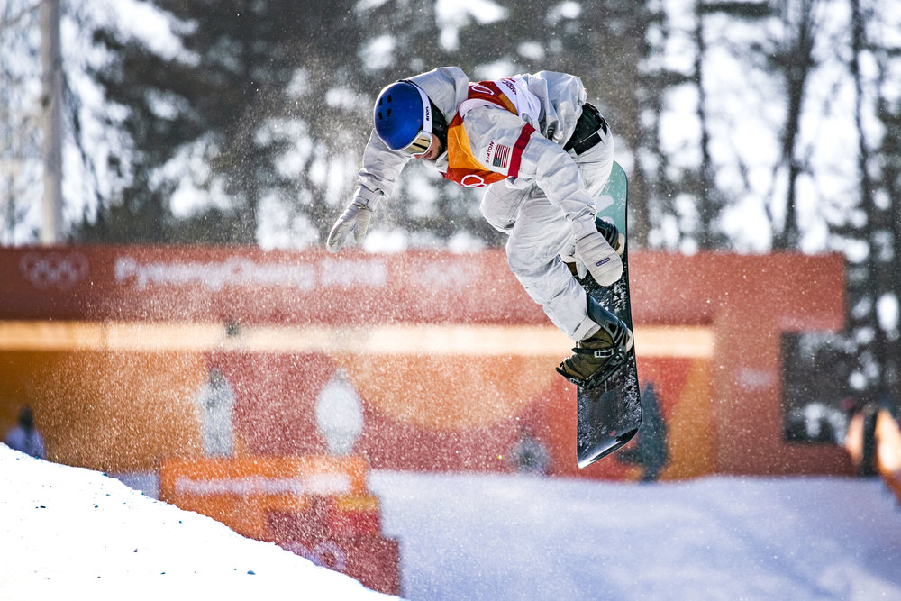 USA's Ben Ferguson preforms a trick in the second heat of the of men's halfpipe qualification, Feb. 13, at Phoenix Snow Park. Ferguson's highest score from both runs was a 91.00, leaving him fourth going into final round.