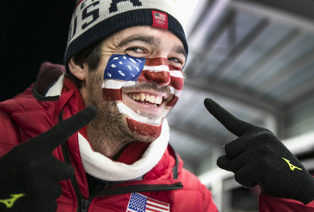 USA luger fan Alex Britcher from Baltimore, Maryland, cheers on his sister, Summer Britcher, as she competes in the luge team relay finals, Feb. 15, at Alpensia Sliding Centre, PyeongChang, South Korea. Alex, pauses to show off his patriotic face paint while yelling for his sister during her live TV interview after placing fourth in the finals.