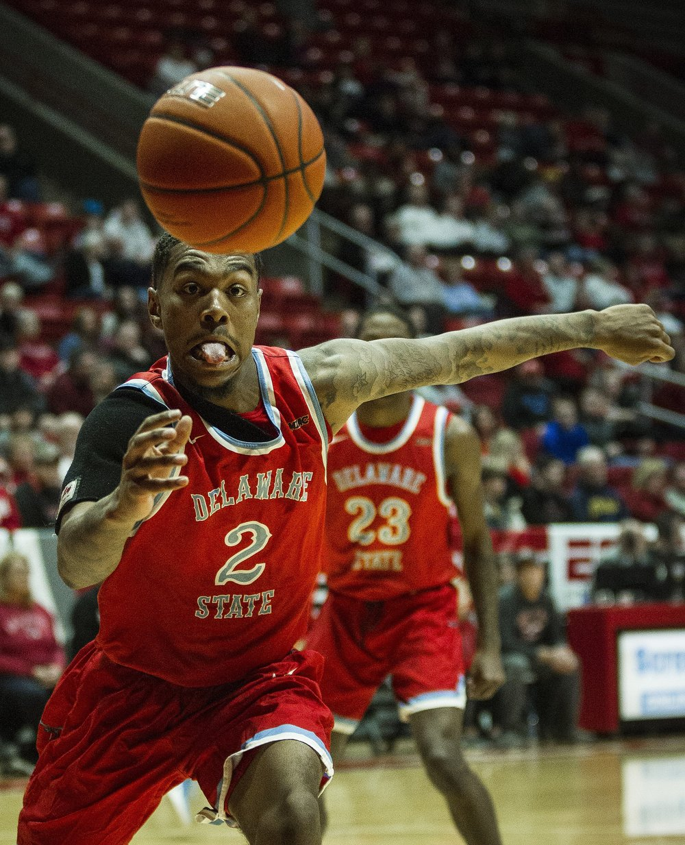 Delaware State guard Kevin Larkin reaches for the ball, Dec. 29, at Worthen Arena.  Photos for Ball State Photo Services, Marketing and Communications
