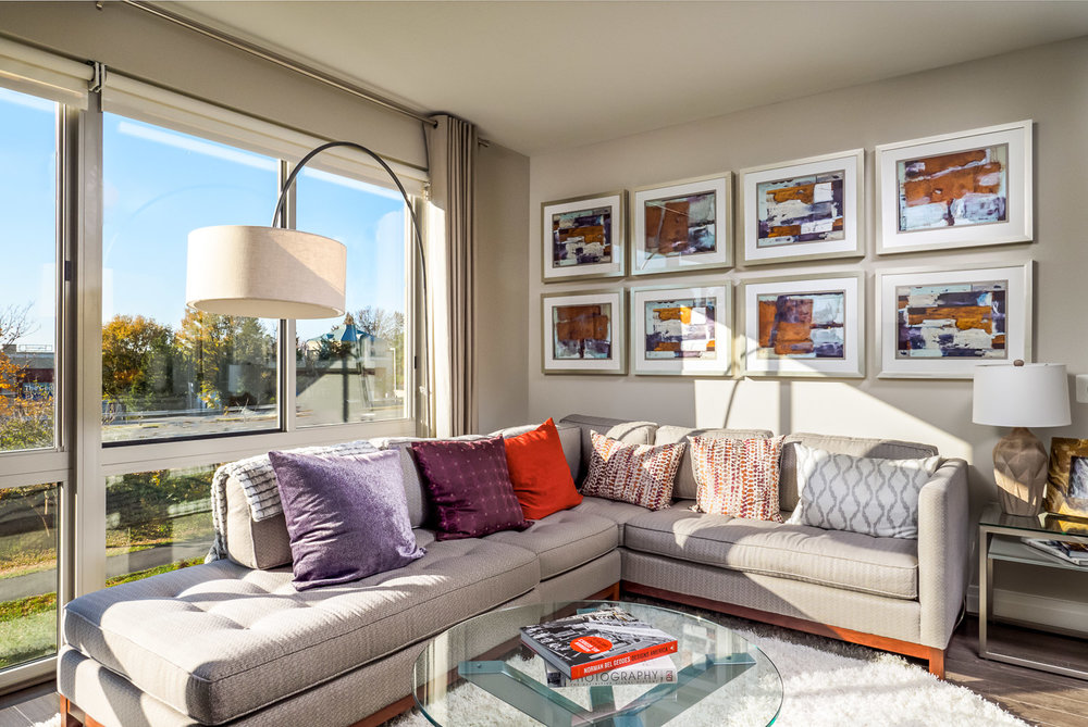 Reston real estate photo of family room in high rise shot by Robert Miller Photography.