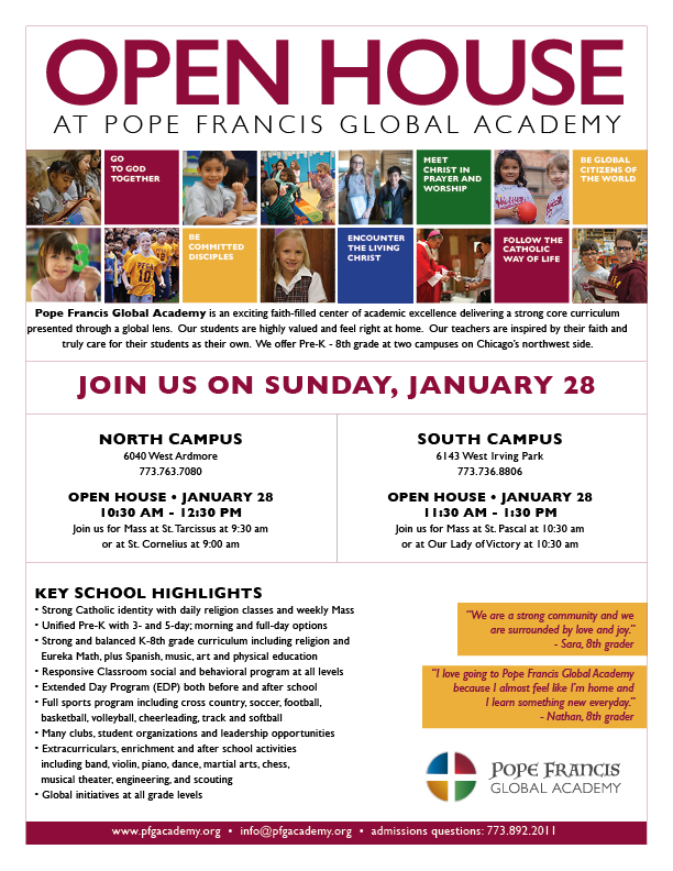 OPEN HOUSE AT POPE FRANCIS GLOBAL ACADEMY — Six Corners Association