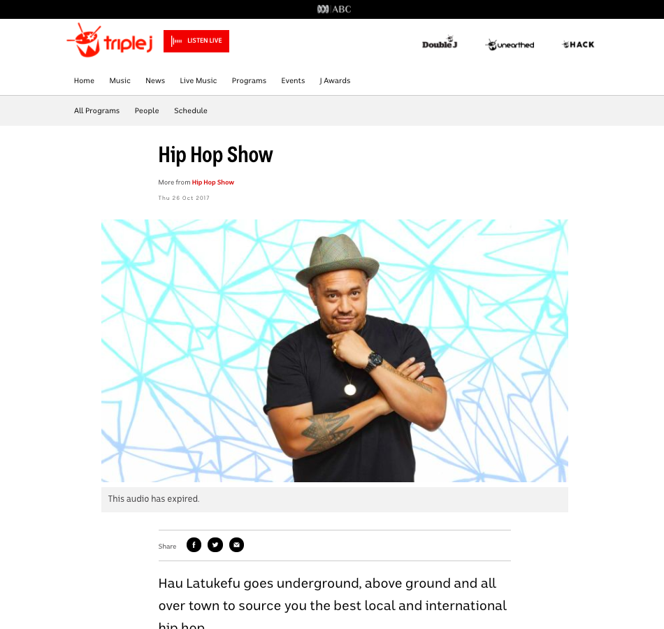 Triple J: Hip Hop Show - October 28th 2017