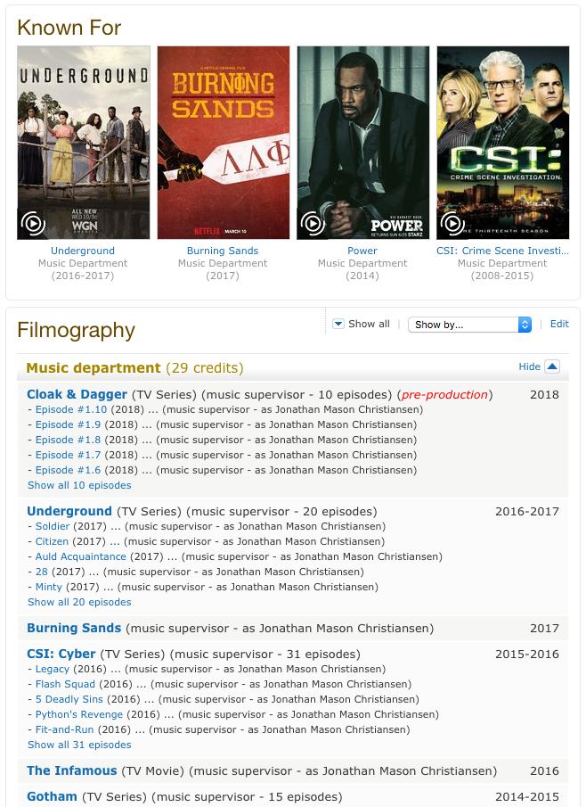 jonathan christiansen IMDB